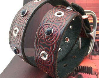 Celtic Knot Tooled Leather Dog Collar with Black Pearls and Eyelets // Size XL // to fit a 20-24 Neck // Extra Large Dog // OOAK