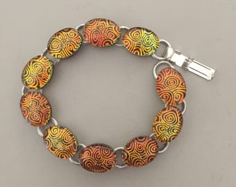 """Copper Gold color Fused Dichroic Art Glass Jewelry Link Bracelet 7 1/4"""" FREE shipping"""
