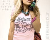 lettuce turnip the beet ® trademark brand OFFICIAL SITE - pale pink Peruvian pima cotton juniors shirt with cursive logo