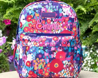 New Vera Bradley Backpack, Impressionista Lighten up Just Right, Monogrammed bookbag, personalized backpack, New retired prints