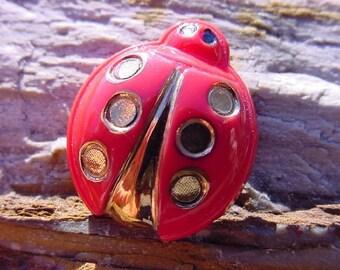 Perky Red Golden Spots Ladybug Czech Glass Button