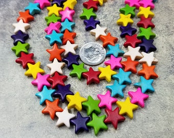 42 Mixed Color Howlite Star Beads 12MM (H7102)