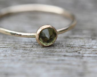 gold filled moldavite hammered stacking ring handcrafted any size