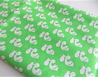 Vintage Cotton Kids Childrens Nursery Stork Print Fabric