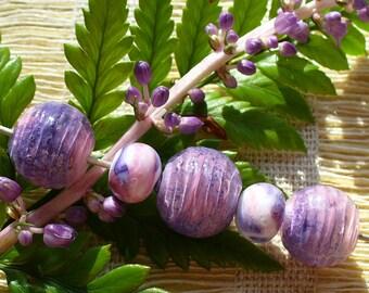 Lampwork beads/SRA lampwork/beads/handmade lampwork/enamel/pink/purple/spheres/trio/