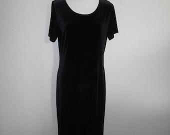 Vintage 90's  stretch black velvet  dress long maxi     womens women clothing clothes