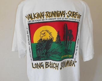 Closing Shop 40%off SALE Vintage 90s LONG BEACH Summer  walking running  surfing    eagle       tee  shirt t shirts