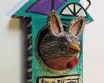 Be Happy Ceramic Bunny Bird  in Wood bird house