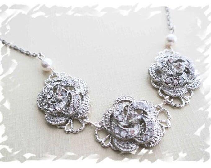 Bridal Rhinestone Headband with 3 roses