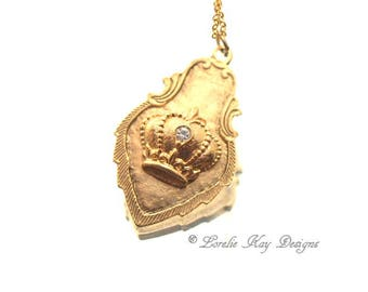 Simple Crown Necklace 24K Gold Plated Medallion Tag Pendant Lorelie Kay Designs