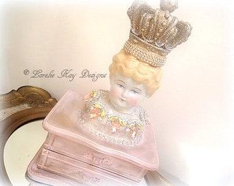 The Queen Jewelry Box Art Doll Mixed Media Art China Head Doll Functional Art Lorelie Kay Original