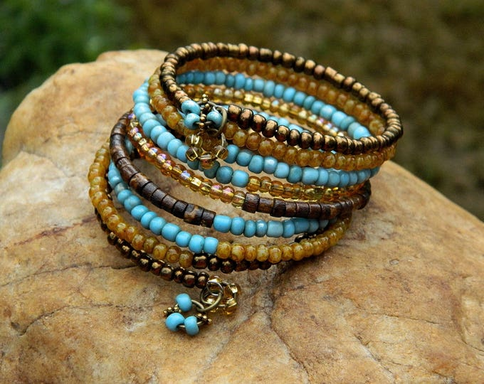 Featured listing image: Boho African Trade Bead and Czech Bead Bangle