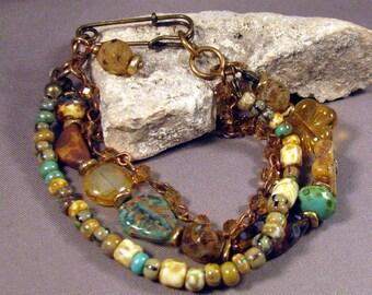 Bohemian Bracelet by Monaslampwork - Czech beads Picasso seed beads topaz chain Antique Brass Clasp Lampwork Bead - by Mona Sullivan