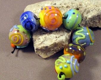 Handmade Lampwork Beads by Monaslampwork - Swirls and Dots - Lampwork Glass by Mona Sullivan Designs Enamels Dots Organic Boho Colorful