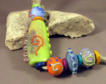 Handmade Lampwork Bead Set by Monaslampwork - Funky Focal - Handmade Lampwork by Mona Sullivan Colorful Enamels Boho Organic Tribal Gypsy