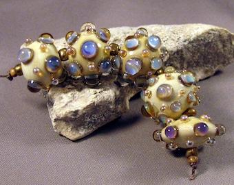 Handmade Lampwork Beads by Monaslampwork - Blue Opals on Ivory - Lampwork Glass by Mona Sullivan Designs Opalescence Organic Bohemian