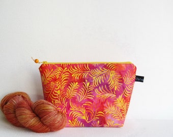 Wedge Bag, Mini Knitting Project Bag, Batik, fronds in pink and yellow