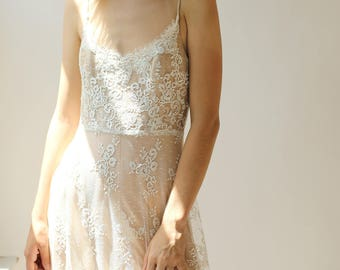 Sample SALE - long ivory lace over nude silk slip dress