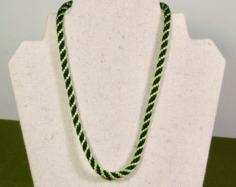 Apple Green and Black Spiral Kumihimo 17 inch Necklace