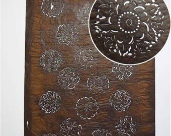 "Vintage Japanese Katagami Stencil Persimmon Paper Meiji Period ""Antique Medallions"""