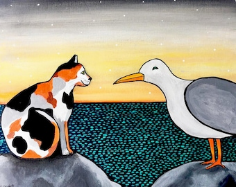 Original Calico Cat and Seagull Painting Shelagh Duffett
