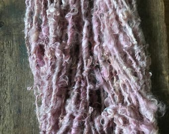 Cochineal dyed Lincoln Locks, 32 yards handspun yarn, soft pink yarn, lockspun yarn, curly handspun yarn,