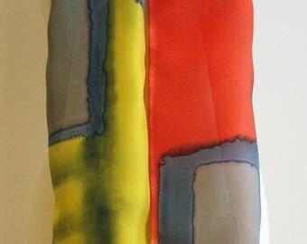 "Handpainted Silk Scarf. Mondrian style. Silk Scarf. Hand Painted Silk. Wedding Gift. Silk belt. Silk Headband. Silk Art.78""x7.8"""