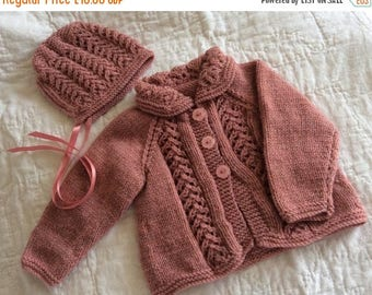 SUMMER SALE Vintage Style Hand Knitted Baby Outfit - 0 - 3 Months