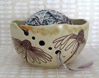 Knitting Bowl - Yarn Bowl - Cone Flowers - Hand Thrown Ceramic Stoneware Pottery