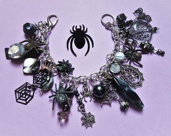 Spider Bracelet, Spider Jewelry, Halloween Charm Bracelet, Halloween, Bracelet, Chunky, Jewelry, Spider Web, Goth, Gothic, Punk, Psychobilly
