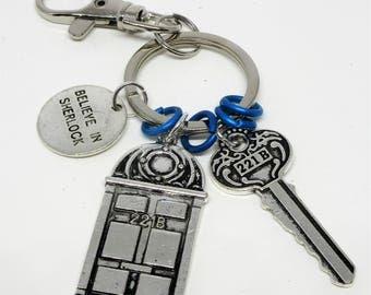 "Sherlock Keychain/Bag Clip ""Believe in Sherlock"" tag 221B Door 221B Key"