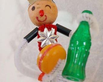 Vintage Style / Pipe Cleaner Male Figure / Vintage Craft Supplies / Spun Cotton Head / Soda Pop Bottle / Hamburger / Baseball Cap / Winking