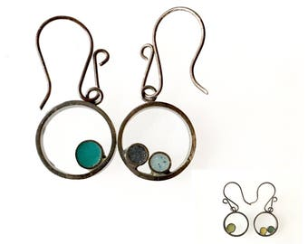 Reversible 2-color Silver and Resin Hoop Circle Asymmetrical Earrings Green Teal Aqua Mismatched Double Sided