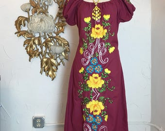 1970s dress festival dress maxi dress embroidered dress off the shoulders dress size medium ethnic dress