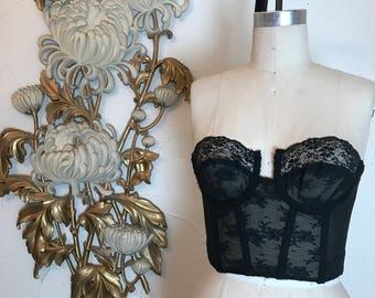 1960s bustier black bustier size 36 sheer bustier strapless bra lace bustier strapless bustier vintage bustier