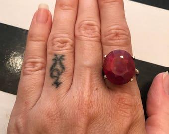 Garnet ring vintage ring sterling silver ring chunky ring gem stone ring statement ring bohemian ring January birthstone ring