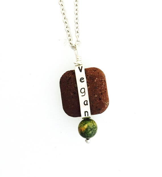 Vegan Bead Necklace-Lava Rock Bead-Unakite Bead-Gemstone-Healing Stones-Hippie-Vegan Gift-Vegan Necklace-Vegan Jewelry-Birthday-Anniversary
