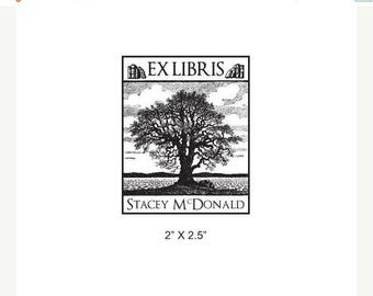 Super Summer Sale Old Oak Tree Personalized Ex Libris Library Rubber Stamp I33