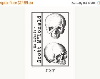Xmas in July Personalized Anatomical Skulls Human Anatomy Ex Libris Bookplate Rubber Stamp F21