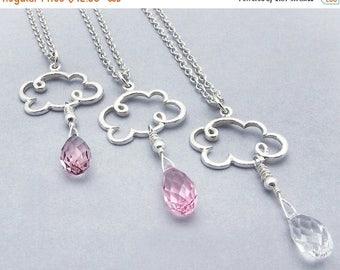 Valentine necklace, Valentine gift for her, Valentine jewelry, cloud necklace, cloud jewelry, rain necklace, rain drop necklace, pink