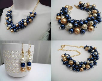 Pearl Beaded Jewelry Set, Navy, Gold and Ivory Necklace Bracelet and Earrings, Cluster Jewelry, Wedding Sets Bridesmaids Gifts, Chunky