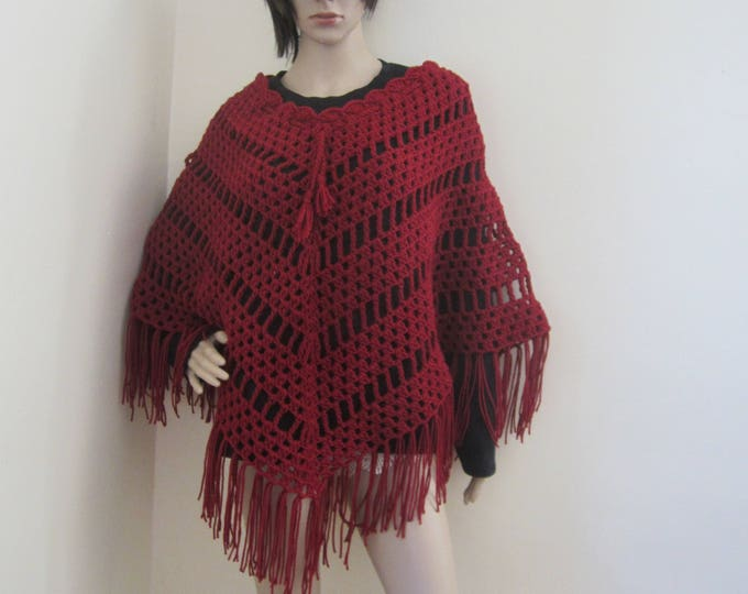 CROCHET PONCHO/crochet womens poncho/Claret Poncho/ Boho poncho/Fringe poncho,/gift for her/Birthday gift/ Christmas gift/ Fall fashion/