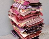 Large Destash lot Velvet, Chenille Fabric Stash in Shades of Pink and Purple #108 for Patchwork and quilts