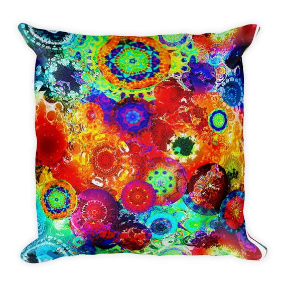 Kaleidoscope Throw Decorative Designer Artist Created Pillow 18 inch Square with Zipper and Insert