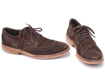 Us men 8.5 BROWN SUEDE Leather Brogue Shoes LLOYD 80s Lace Up Derby Oxford Comfortable Wide Fit Shoe Men Gift Made In Germany Eur 42,  Uk 8