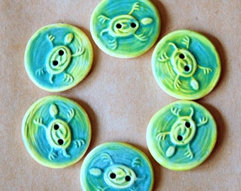 6  Handmade Ceramic Buttons - Turtle Buttons in Light Green - Perfect for Summer Creations!