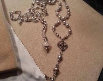 LUMINOUS Classic Rosary Style Pet Rosary Silver Pearls