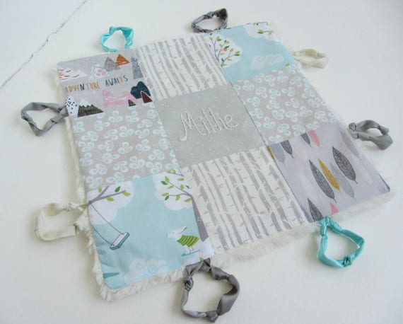 Baby Lovey Girl Blanket with Hand Embroidered Name Or Initial ~ Choice of Backing Fabric ~ Adventure Awaits ~ Nature Girl ~ Gray Aqua White