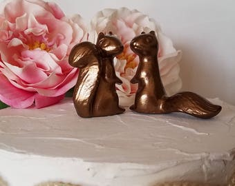 Copper Wedding Cake Topper Adorable Ceramic Squirrels in Love Anniversary Gift Copper Animals Home Decor Ceramic Vintage Design