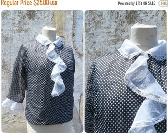 ON SALE Vintage 1960/60s navy blue and white polka dots semi sheer secretary blouse  ruffled collar size S